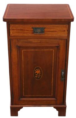 Antique Georgian revival C1915 inlaid mahogany pedestal bedside table cupboard