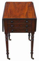 Antique quality 19th Century mahogany three drawer drop leaf work table