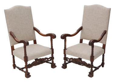 Antique quality pair of Charles II revival oak armchairs C1900