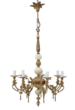 Antique Vintage 6 lamp / arm ormolu brass onyx chandelier FREE DELIVERY