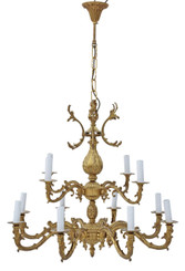 Very large antique vintage 12 lamp/arm ormolu brass chandelier FREE DELIVERY
