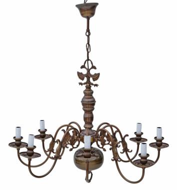 Large vintage 8 lamp/arm brass / bronze Flemish chandelier FREE DELIVERY