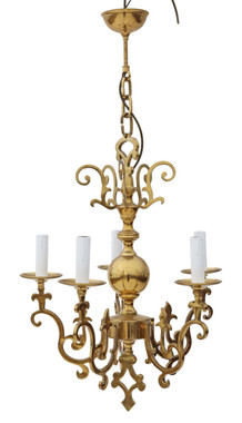 Antique vintage 5 lamp / arm ormolu brass chandelier FREE DELIVERY