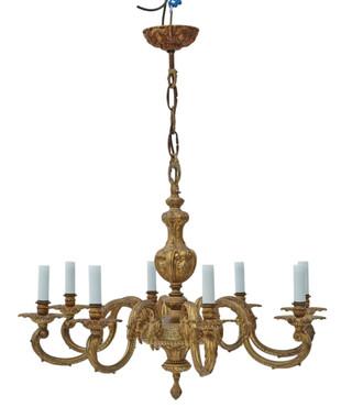 Large vintage 8 lamp/arm ormolu brass chandelier FREE DELIVERY