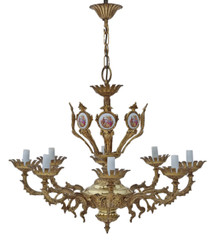 Large antique vintage 8 lamp/arm ormolu brass chandelier FREE DELIVERY