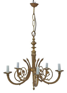 Antique vintage 5 lamp / arm brass ormolu chandelier FREE DELIVERY