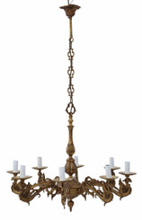 Large antique vintage 8 lamp/ arm ormolu brass chandelier FREE DELIVERY