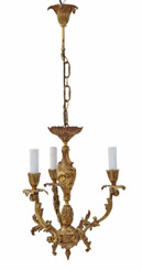 Antique vintage 3 lamp / arm ormolu brass chandelier FREE DELIVERY
