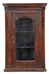 Antique small Georgian burr walnut corner wall display cupboard