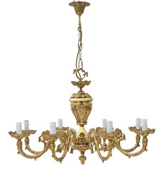 Very large antique vintage 8 lamp/arm ormolu brass chandelier FREE DELIVERY