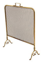 Antique Victorian brass fire screen