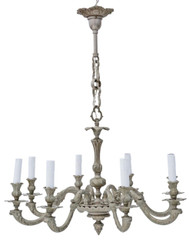 Large antique vintage 8 lamp/arm silvered brass chandelier FREE DELIVERY