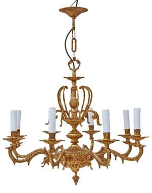 Large vintage 8 lamp/arm ormolu brass chandelier antique FREE DELIVERY