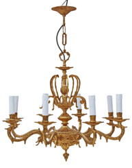 Large vintage 8 lamp/arm ormolu brass chandelier antique FREE DELIVERY