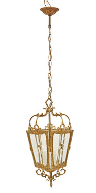 Antique Vintage 3 lamp ormolu brass hall lantern FREE DELIVERY