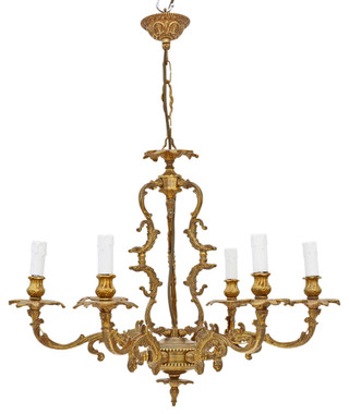 Antique Vintage 6 lamp / arm ormolu brass chandelier FREE DELIVERY