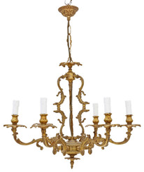 Antique Vintage 6 lamp / arm ormolu brass chandelier FREE DELIVERY