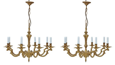 Pair of large vintage 8 lamp arm brass ormolu chandeliers antique FREE DELIVERY