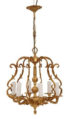 Antique Vintage 6 lamp / arm ormolu brass bird cage chandelier FREE DELIVERY