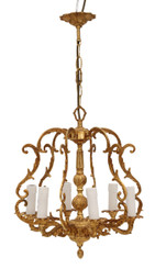 Antique Vintage 6 lamp / arm ormolu brass bird cage chandelier FREE DELIVERY