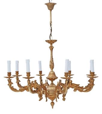 Large vintage 8 lamp arm brass ormolu chandelier antique FREE DELIVERY