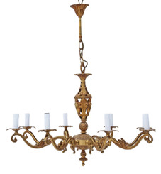 Large antique vintage 8 arm/lamp ormolu brass chandelier FREE DELIVERY