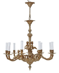 Large antique vintage ormolu brass 9 arm/lamp chandelier FREE DELIVERY