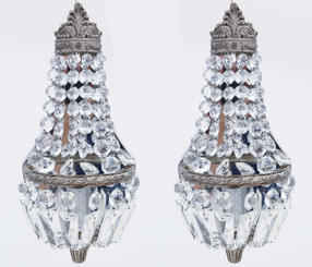 Antique vintage pair of crystal wall lights FREE DELIVERY