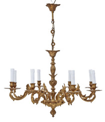 Large antique vintage ormolu brass 8 arm/lamp chandelier FREE DELIVERY