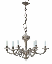 Large antique vintage 6 lamp/arm silvered brass chandelier FREE DELIVERY