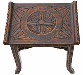 Antique rare quality Victorian Chinoiserie elm stool seat foot