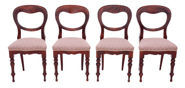 Antique set of 4 Victorian C1890 mahogany balloon back dining chairs