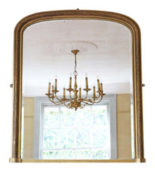 Antique large late Victorian gilt wall mirror overmantle C1900