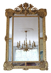 Antique impressive very large quality reproduction gilt cushion wall mirror