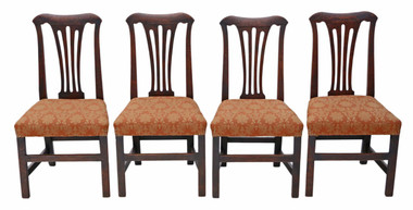 Antique quality set of 4 Georgian oak dining chairs C1800