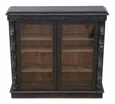 Antique quality late Victorian C1900 carved oak glazed bookcase Jacobean revival