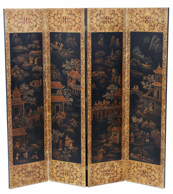 Antique large Chinoiserie C1915 dressing screen room divider