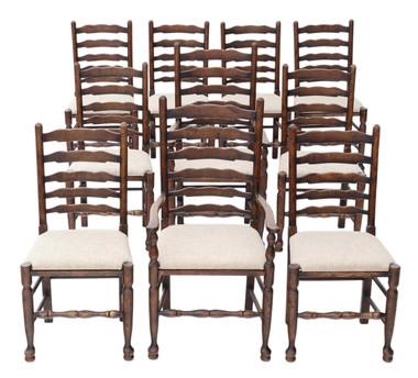 Antique set of 10 (8+2) Georgian revival Lancashire oak dining chairs C1920