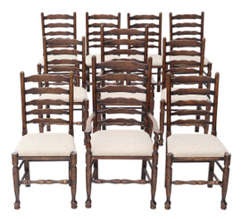 Antique set of 10 (8+2) Georgian revival Lancashire oak dining chairs C1920
