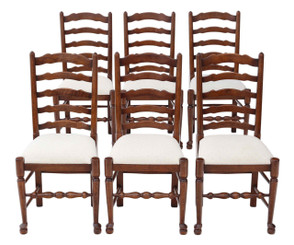 Antique quality reproduction set of 6 oak Lancashire style dining chairs