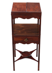 Antique quality Georgian C1820 mahogany washstand bedside table