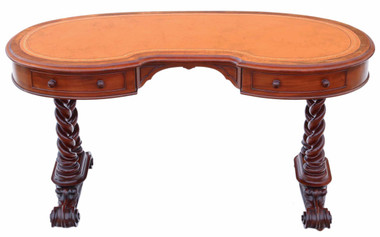 Antique quality Victorian C1870 mahogany kidney desk dressing or writing table