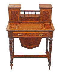 Antique Victorian C1890 burr walnut work side sewing writing table box
