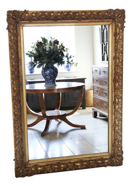 Antique large quality mid-19th Century overmantle or wall mirror