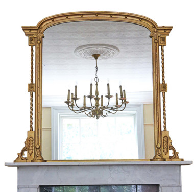 Antique large quality Regency overmantle or wall mirror C1825