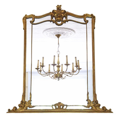 Antique large quality Victorian overmantle or wall mirror C1850