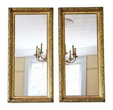 Antique pair of fine quality gilt overmantle or wall mirrors C1910