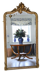 Antique very large fine quality Victorian gilt full height wall mirror C1900