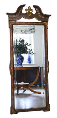 Antique large quality burr walnut full height wall mirror C1910