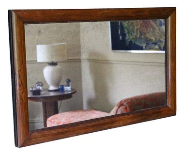 Antique quality Victorian rosewood cushion overmantle wall mirror C1890